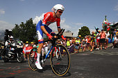 Tom Dumoulin of the Netherlands and Team GiantAlpecin during stage eighteen of the 2016 Le Tour de France from Sallanches to Megeve on July 21 2016...