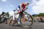 Tom Dumoulin of the Netherlands and Team GiantAlpecin rides during stage eighteen of the 2016 Le Tour de France from Sallanches to Megeve on July 21...