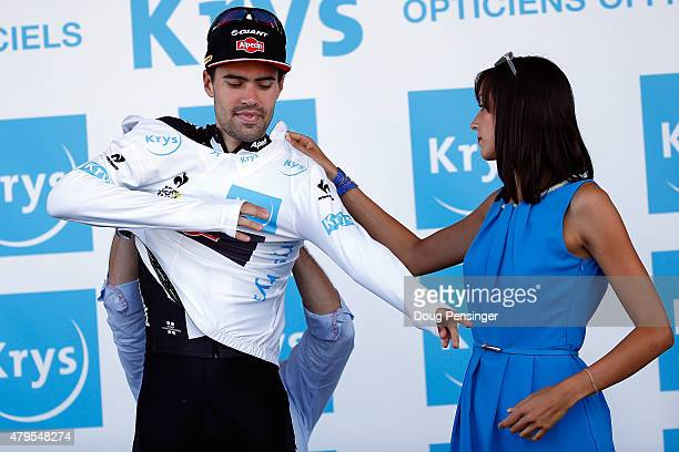 Tom Dumoulin of the Netherlands riding for GiantAlpecin is awarded the best young rider white jersey following stage two of the 2015 Tour de France...