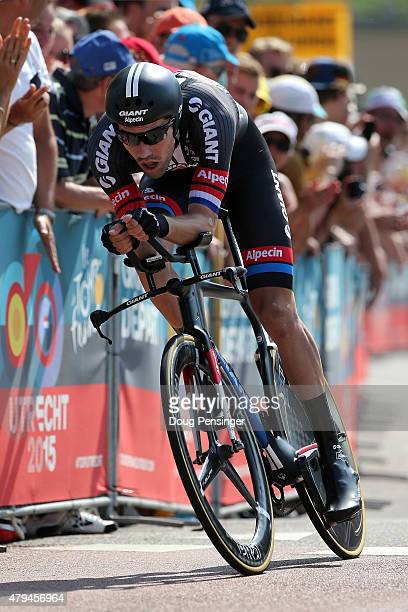 Tom Dumoulin of the Netherlands riding for Team Giant Alpecin races to fourth place in the individual time trial in stage one of the 2015 Tour de...
