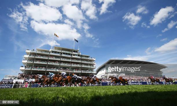 Tom Eaves riding Caspian Prince races to victory during the Investec Corporate Banking 'Dash' Handicap at Epsom Racecourse on June 3 2017 in Epsom...