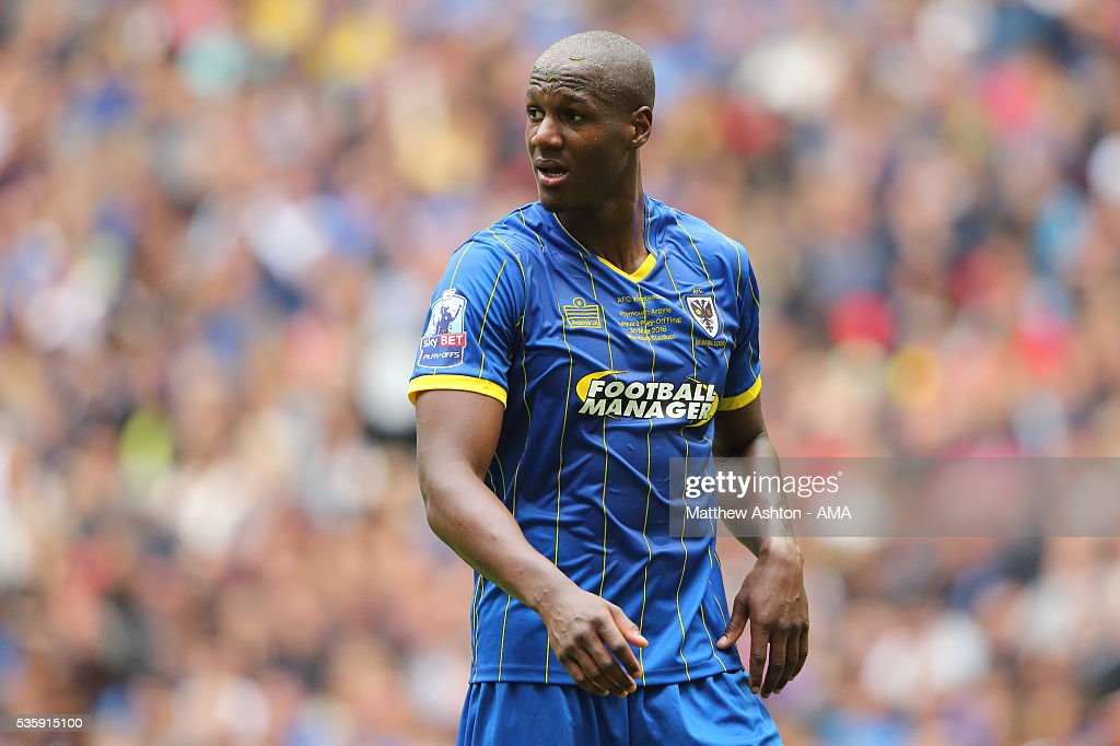 Tom Elliott of AFC Wimbledon during the Sky Bet League Two Play Off Final between Plymouth Argyle and AFC Wimbledon at Wembley Stadium on May 30, 2016 in London, England.