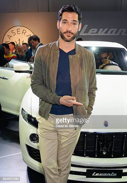 Tom Ellis attends the UK VIP reveal of the Maserati Levante SUV at The Royal Horticultural Halls on May 26 2016 in London England