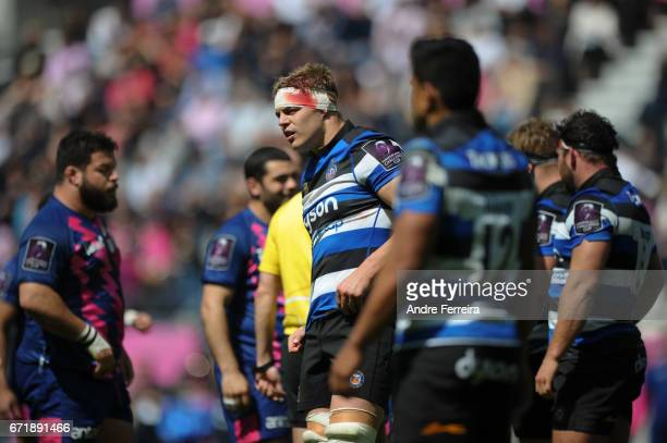 Tom Ellis of Bath during the European Challenge Cup semi final between Stade Francais and Bath on April 23 2017 in Paris France