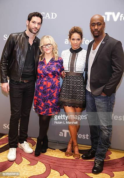 Tom Ellis Rachael Harris LesleyAnn Brandt and DB Woodside attend the 'Lucifer' event aTVfest on February 7 2016 in Atlanta Georgia