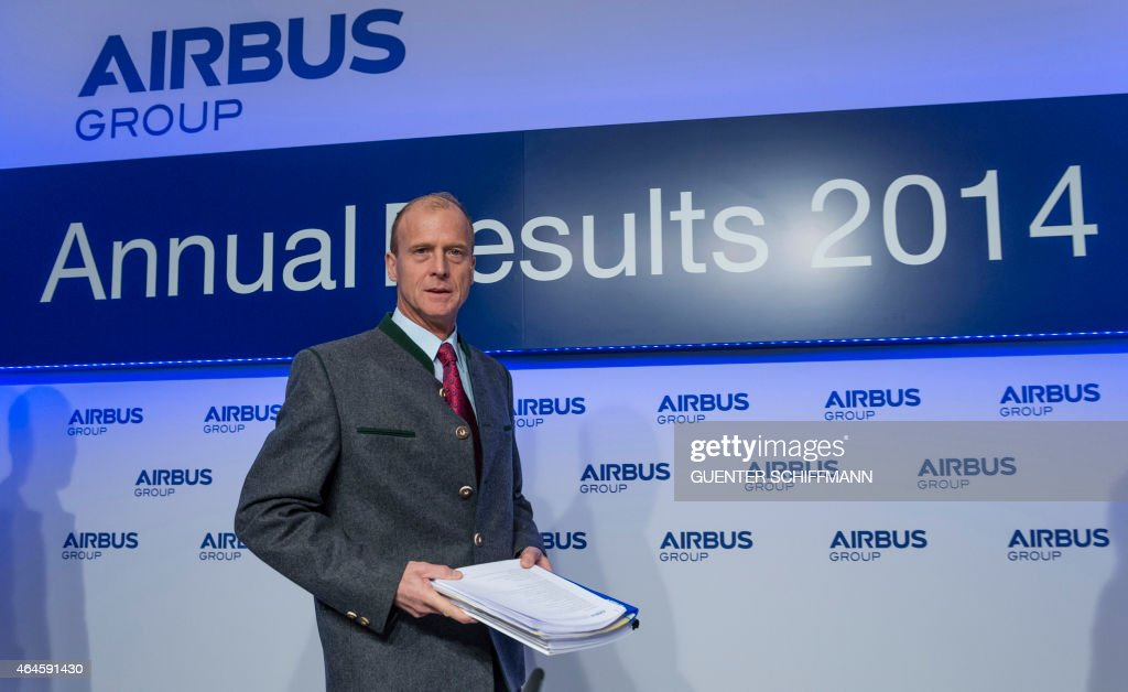 Tom Enders, chairman of European aerospace giant Airbus, arrives to attend his company's annual press conference in Munich, southern Germany, on February 27, 2015. AFP PHOTO / GUENTER SCHIFFMANN