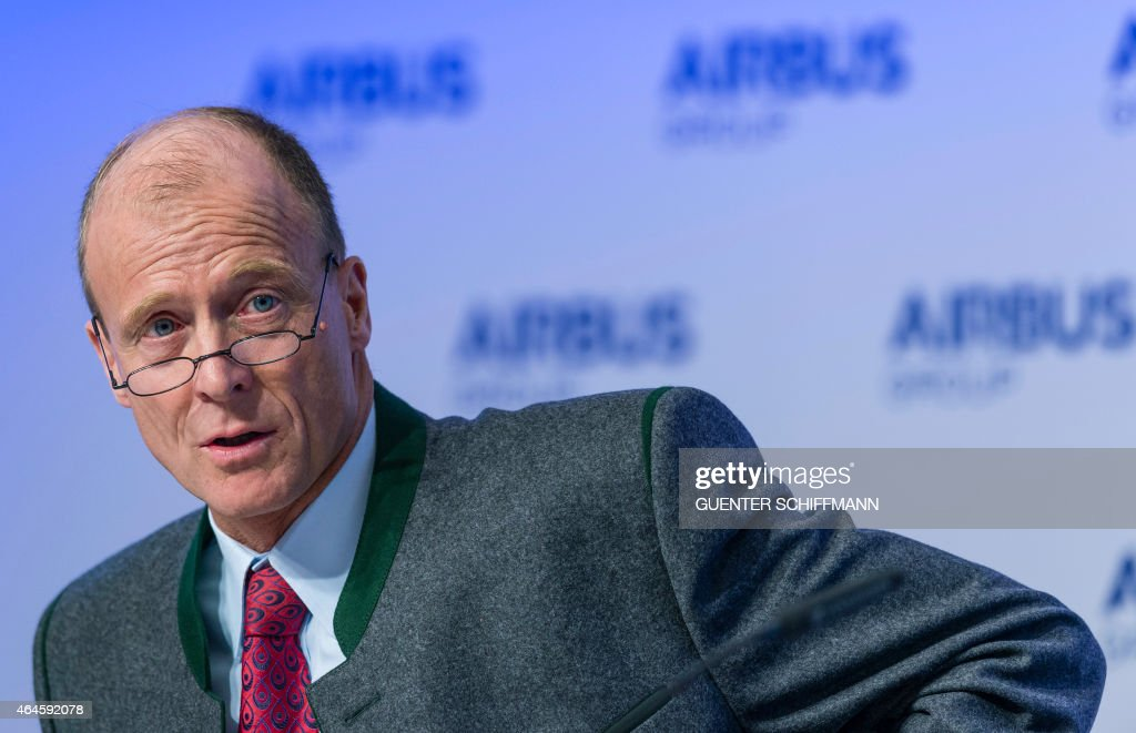 Tom Enders, chairman of European aerospace giant Airbus, attends his company's annual press conference in Munich, southern Germany, on February 27, 2015.