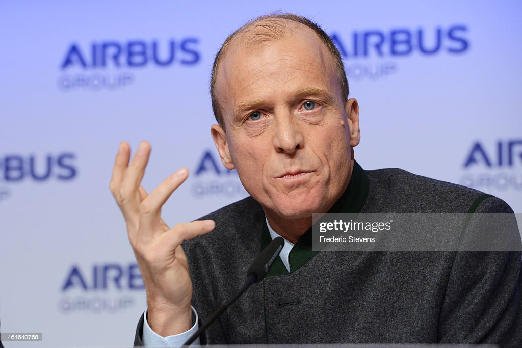 Tom Enders Chief Executive Officer of Airbus Group, during the Airbus annual news conference on February 27, 2015 in Munich, Germany. Airbus plans to boost production of its workhorse A320 single-aisle aircraft to 50 a month to meet surging demand for more fuel-efficient airliners.