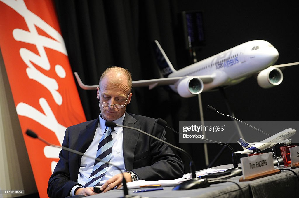 Tom Enders, chief executive officer of Airbus SAS, listens during a news conference to announce a sale of Airbus A320neo aircraft to AirAsia Bhd at the Paris Air Show in Paris, France, on Wednesday, June 22, 2011. The 49th International Paris Air Show, the world's largest aviation and space industry show, takes place at Le Bourget airport June 20-26. Photographer: Fabrice Dimier/Bloomberg via Getty Images