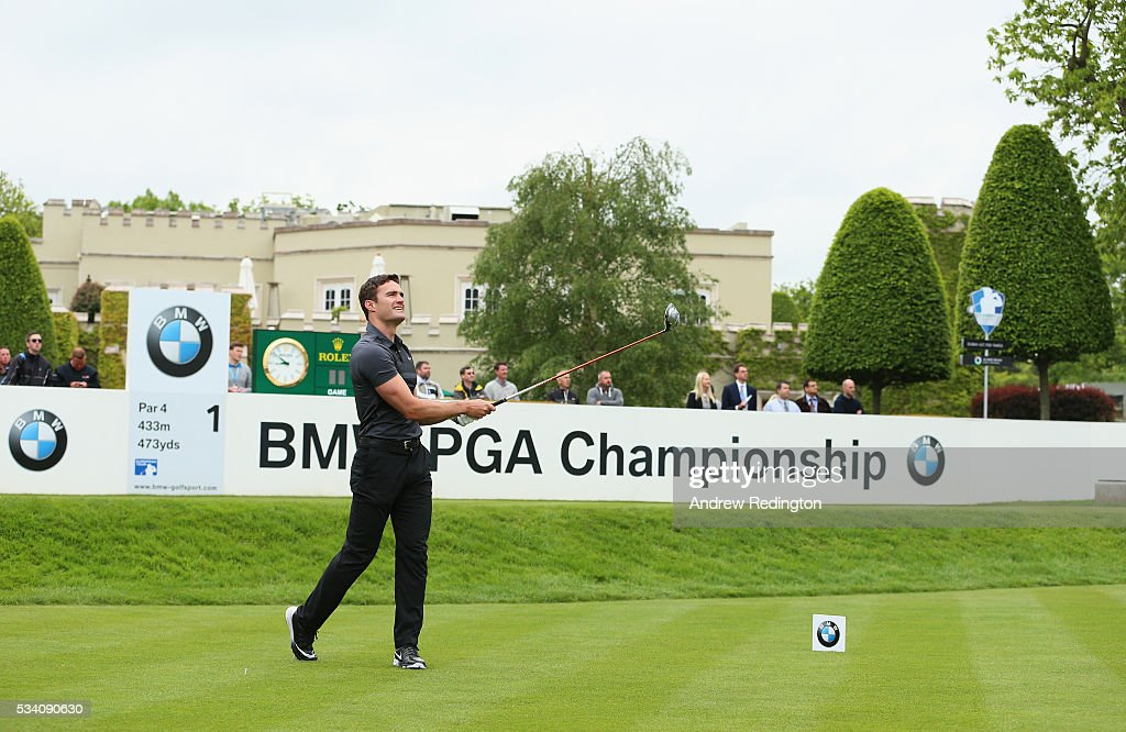 Tom Evans tees off on the 1st hole during the Pro-Am prior to the BMW PGA Championship at Wentworth on May 25, 2016 in Virginia Water, England.