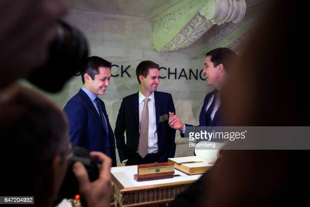 Tom Farley president of the NYSE Group from right Evan Spiegel cofounder and chief executive officer of Snap Inc and Bobby Murphy cofounder and chief...