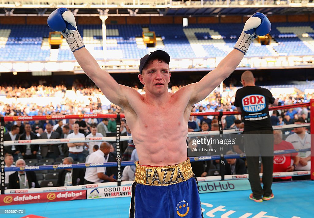 Tom Farrell celebrates victory over Kofi Yates in the Eliminator for English Super-Lightweight Championship fight between Tom Farrell and Kofi Yates at Goodison Park on May 29, 2016 in Liverpool, England.