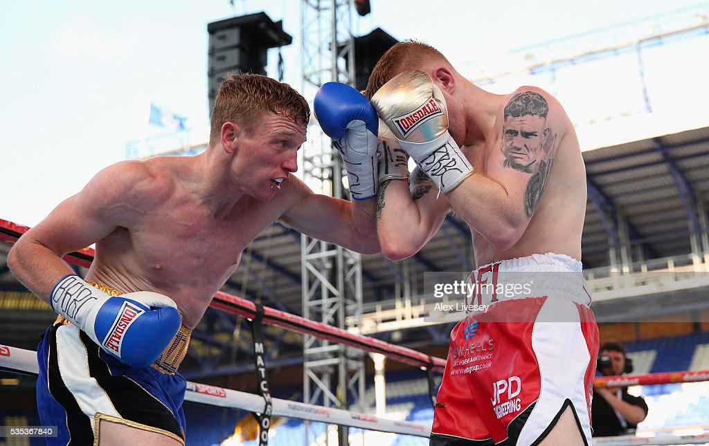 Tom Farrell lands a left shot on Kofi Yates during the Eliminator for English Super-Lightweight Championship fight between Tom Farrell and Kofi Yates at Goodison Park on May 29, 2016 in Liverpool, England.
