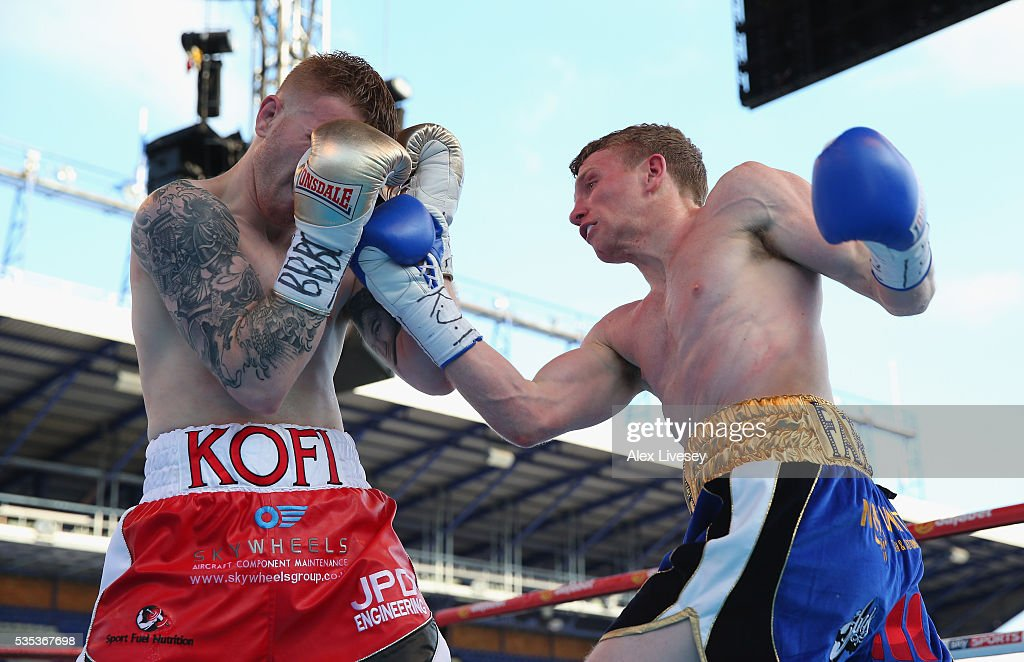 Tom Farrell lands a right shot on Kofi Yates during the Eliminator for English Super-Lightweight Championship fight between Tom Farrell and Kofi Yates at Goodison Park on May 29, 2016 in Liverpool, England.