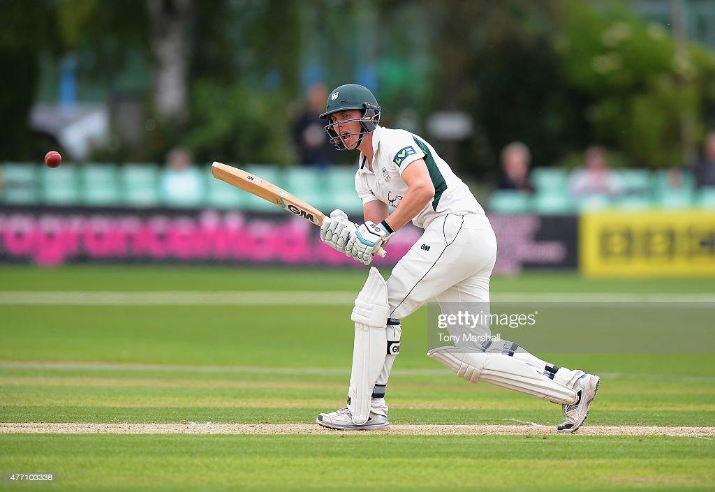 Tom Fell of Worcestershire bats during the LV County Championship match between Worcestershire and Warwickshire at New Road on June 14 2015 in...