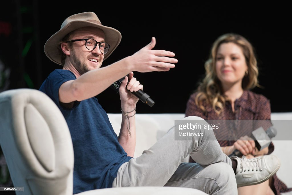 Tom Felton and Clare Kramer speak on stage during Emerald City Comic Con at Washington State Convention Center on March 5, 2017 in Seattle, Washington.