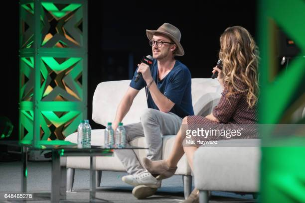 Tom Felton and Clare Kramer speak on stage during Emerald City Comic Con at Washington State Convention Center on March 5 2017 in Seattle Washington