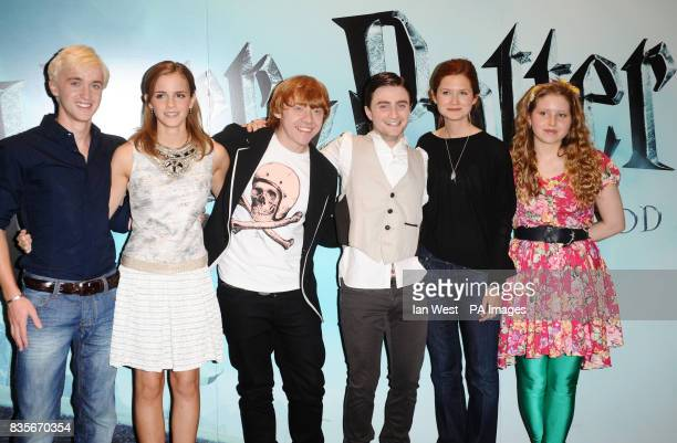 Tom Felton Emma Watson Rupert Grint Daniel Radcliffe Bonnie Wright and Jessie Cave are seen at a photocall to launch the new film Harry Potter and...