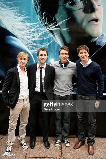 Tom Felton Matthew Lewis James Phelps and Oliver Phelps attend the launch of the 'Harry Potter and the HalfBlood Prince' magical tour held in...