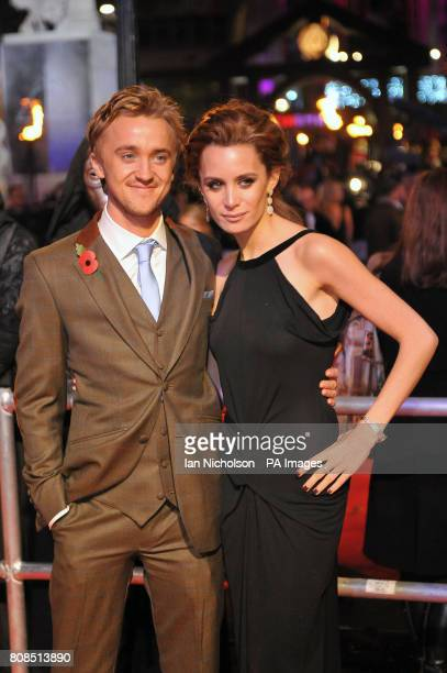 Tom Felton who stars as Draco Malfoy and Jade Olivia arriving for the world premiere of Harry Potter and the Deathly Hallows