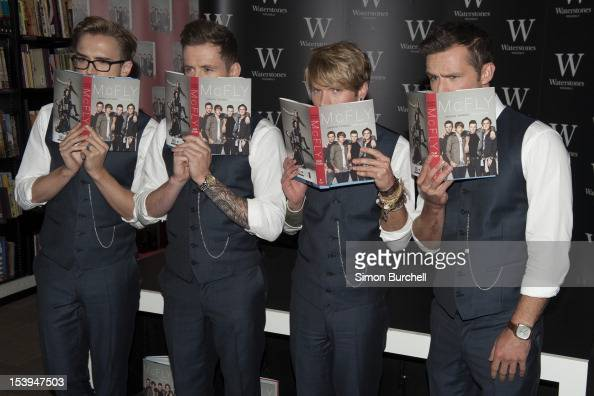 Tom Fletcher Danny Jones and Dougie Poynter Harry Judd of McFly meets fans and signs copies of their new book 'Unsaid things Our Story' at...