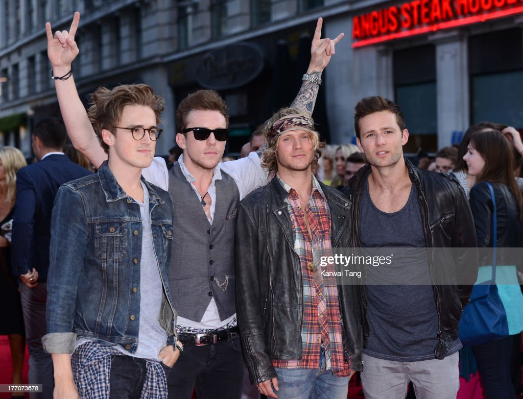 Tom Fletcher, Danny Jones, Dougie Poynter and Harry Judd of McFly attend the World Premiere of 'One Direction: This Is Us' at Empire Leicester Square on August 20, 2013 in London, England.