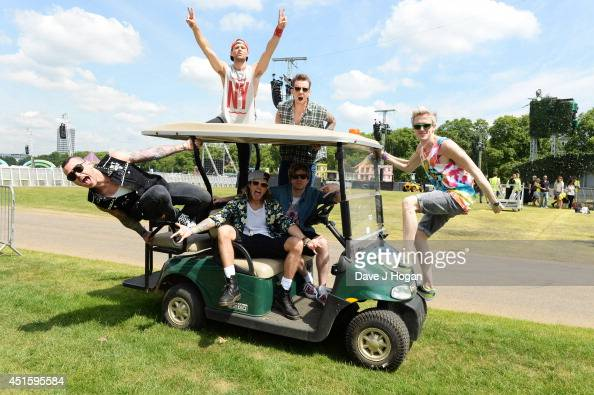 Tom Fletcher Danny Jones Dougie Poynter Harry Judd James Bourne and Matt Willis of McBusted pose ahead of their concert on the 6th July at British...
