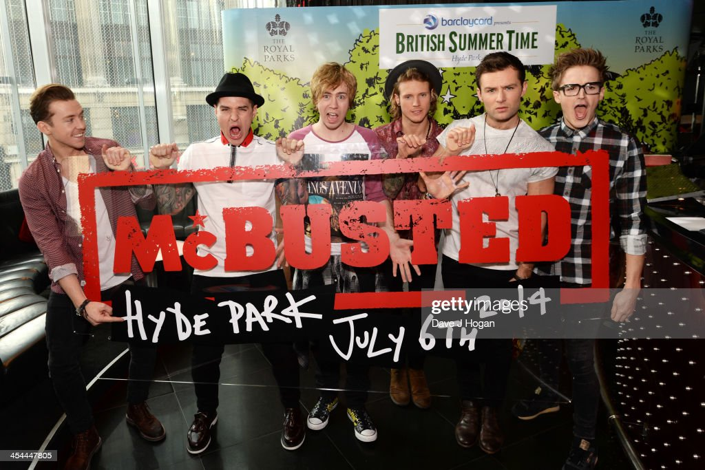 Tom Fletcher Danny Jones Dougie Poynter Harry Judd James Bourne and Matt Willis of McBusted attend a photocall to announce their date at Barclaycard...