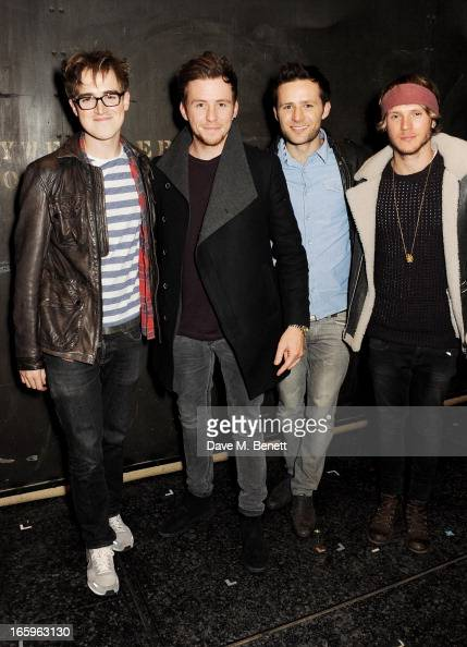Tom Fletcher Danny Jones Harry Judd and Dougie Poynter of McFly pose backstage at the West End production of 'Jersey Boys' at the Prince Edward...