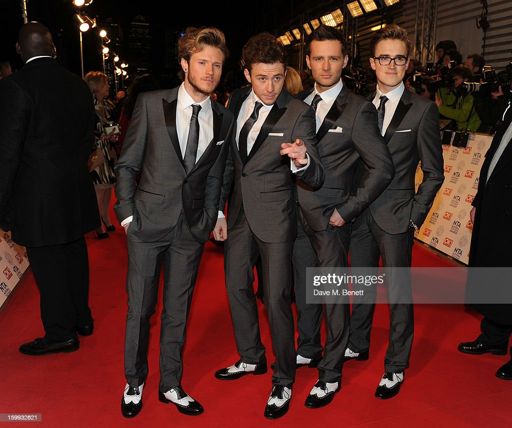 Tom Fletcher Dougie Poynter Danny Jones and Harry Judd of McFly attend the the National Television Awards at 02 Arena on January 23 2013 in London...