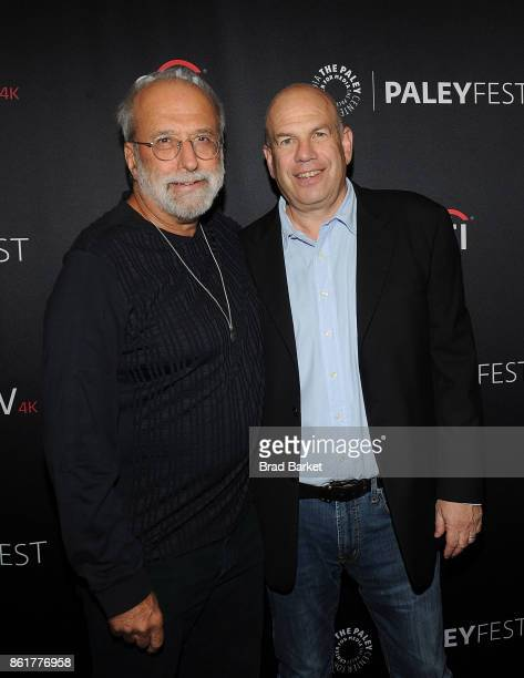 Tom Fontana and David Simon attend the 2017 PaleyFest NY 'Oz' Reunion at The Paley Center for Media on October 15 2017 in New York City