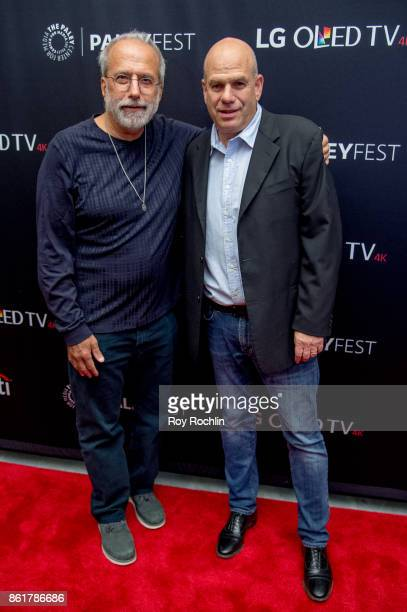 Tom Fontana and David Simon attend the PaleyFest NY 2017 'Oz' reunion at The Paley Center for Media on October 15 2017 in New York City