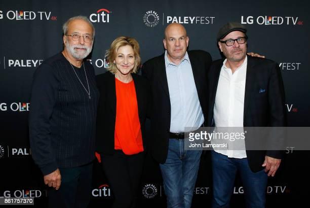 Tom Fontana Edie Falco David Simon and Terry Kinney attend the PaleyFest NY 2017 'Oz' reunion at The Paley Center for Media on October 15 2017 in New...