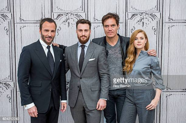 Tom Ford Aaron Taylor Johnson Amy Adams and Michael Shannon discuss 'Nocturnal Animals' with The Build Series at AOL HQ on November 18 2016 in New...