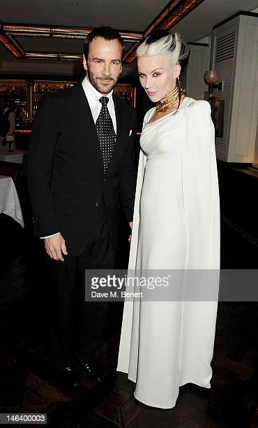 Tom Ford and Daphne Guinness attend the London Collections Men dinner hosted by designer Tom Ford and UK editor of GQ Dylan Jones at 34 Grosvenor...