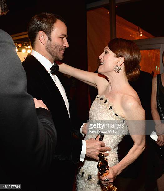 Tom Ford and Julianne Moore attend the 2015 Vanity Fair Oscar Party hosted by Graydon Carter at the Wallis Annenberg Center for the Performing Arts...