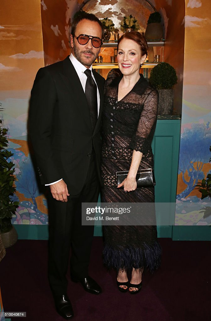 Tom Ford (L) and Julianne Moore attend the Charles Finch and Chanel Pre-BAFTA cocktail party and dinner at Annabel's on February 13, 2016 in London, England.