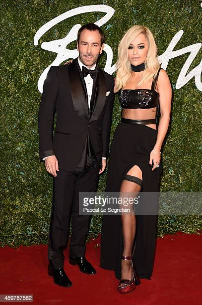 Tom Ford and Rita Ora attend the British Fashion Awards at London Coliseum on December 1 2014 in London England