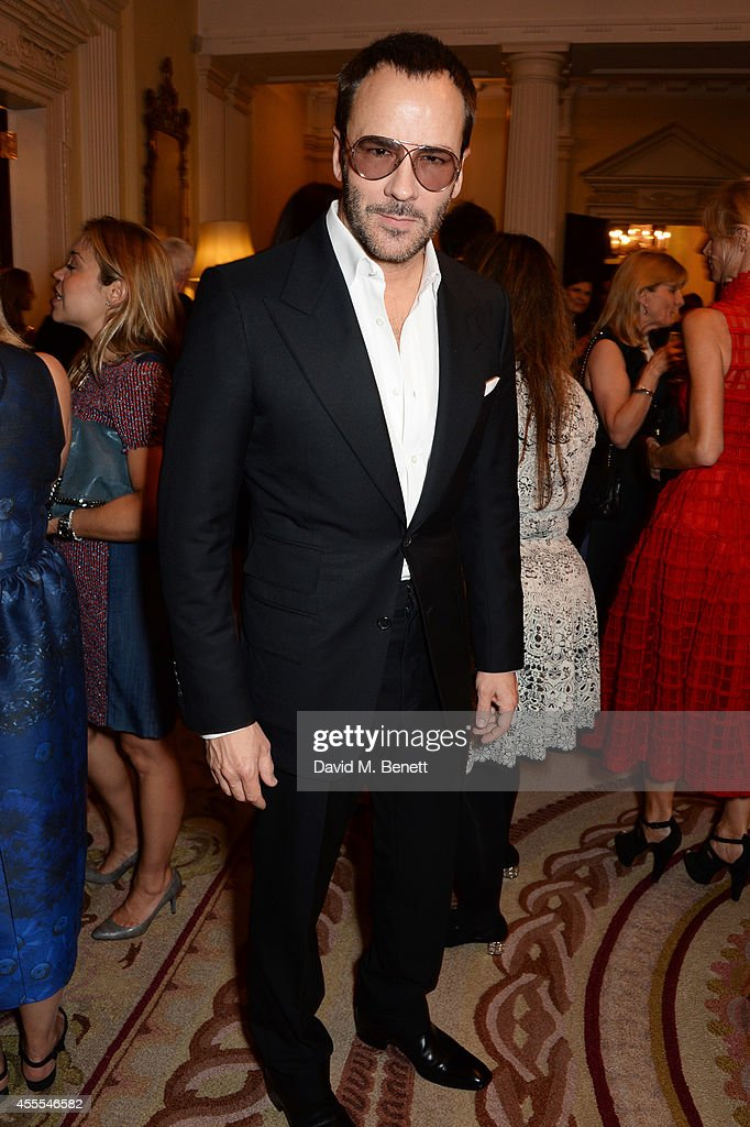 Tom Ford attends as Ambassador Barzun Mrs Brooke Barzun and Alexandra Shulman celebrate London Fashion Week at Winfield House in association with J...