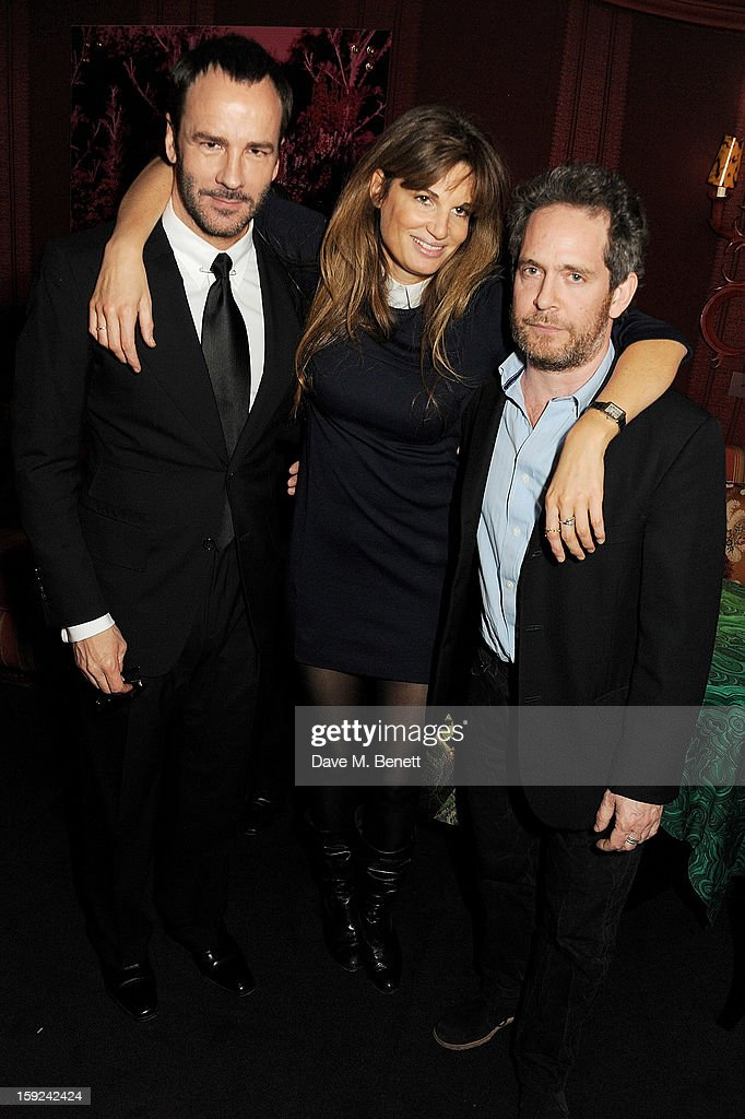 Tom Ford, Jemima Khan and Tom Hollander attend a private dinner hosted by Tom Ford to celebrate his runway show during London Collections: MEN AW13 at Loulou's on January 9, 2013 in London, England.