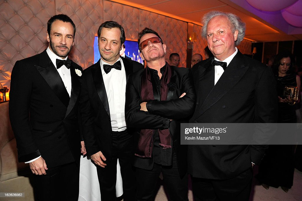Tom Ford, Judd Apatow, Bono and Editor-in-chief of Vanity Fair Graydon Carter attend the 2013 Vanity Fair Oscar Party hosted by Graydon Carter at Sunset Tower on February 24, 2013 in West Hollywood, California.