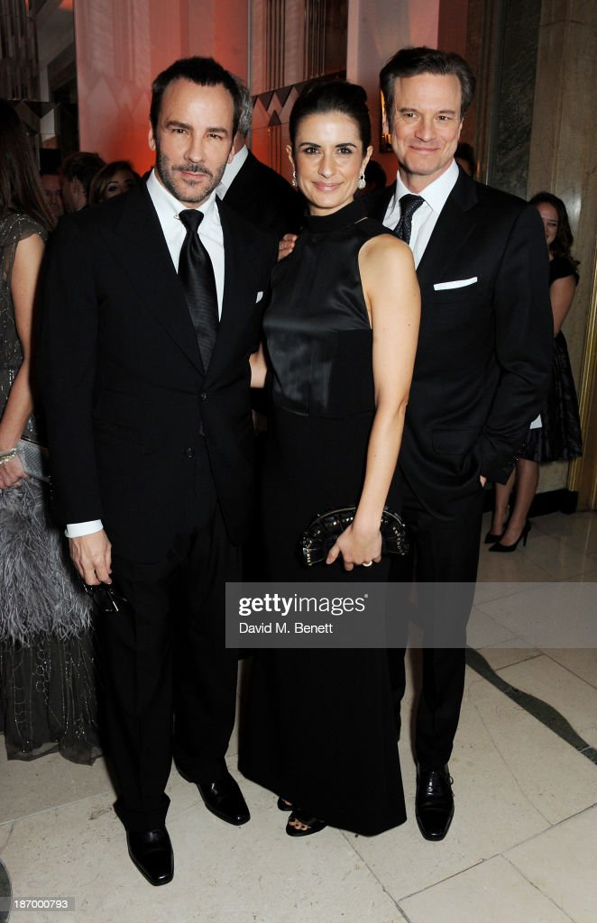 Tom Ford, Livia Firth and Colin Firth arrive at the Harper's Bazaar Women of the Year awards at Claridge's Hotel on November 5, 2013 in London, England.