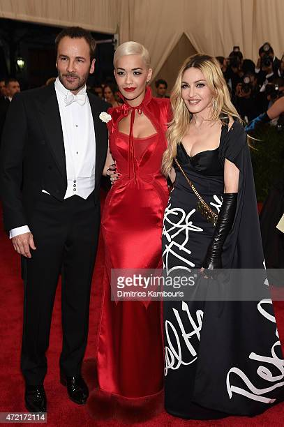 Tom Ford Rita Ora and Madonna attend the 'China Through The Looking Glass' Costume Institute Benefit Gala at the Metropolitan Museum of Art on May 4...
