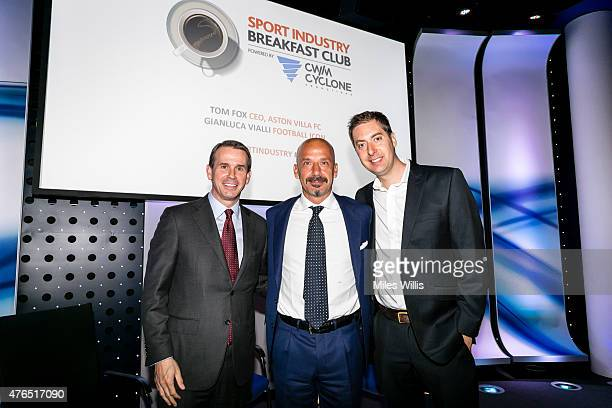 Tom Fox CEO Aston Villa FC Gianluca Vialli former player and manager and Matt Law Football News Correspondent at the Daily Telegraph pose on stage...