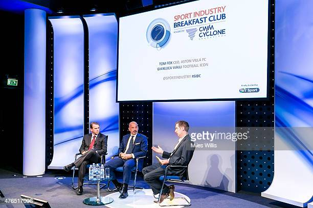 Tom Fox CEO Aston Villa FC Gianluca Vialli former player and manager and Matt Law Football News Correspondent at the Daily Telegraph speak at the...