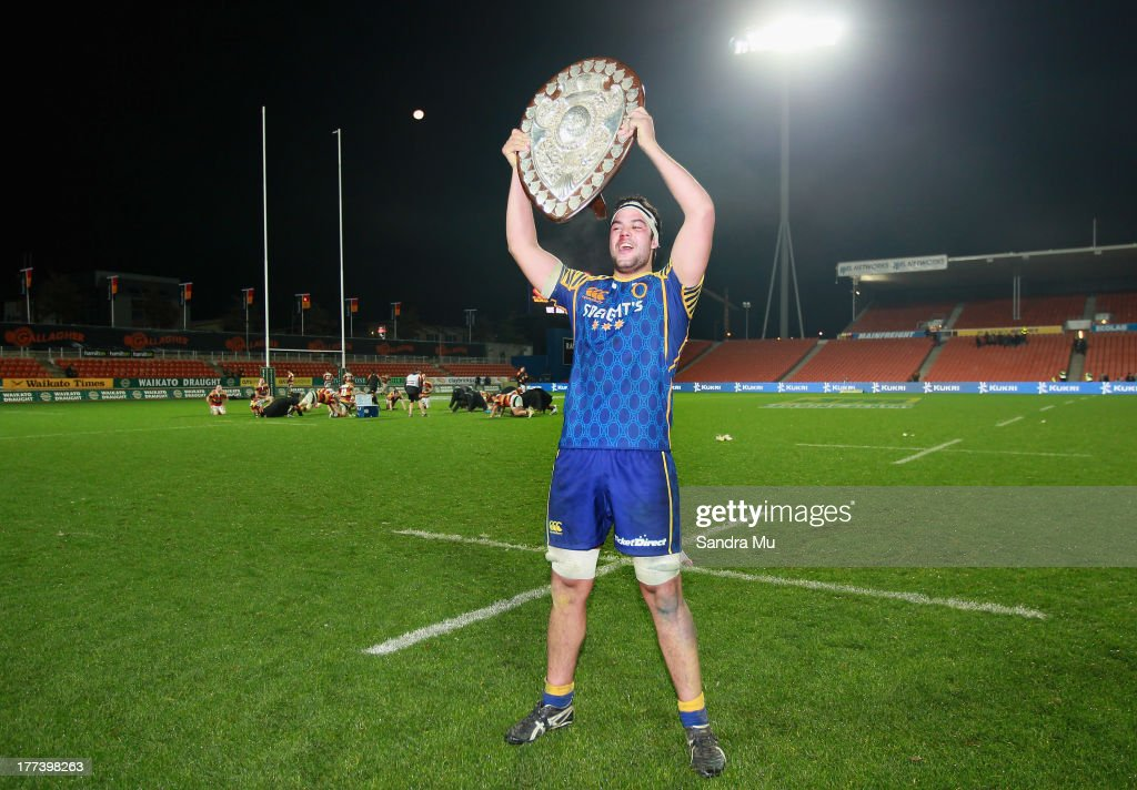 Tom Franklin of Otago celebrates with the Ranfurly Shield after winning the round two ITM Cup Ranfurly Shield match between Waikato and Otago at...