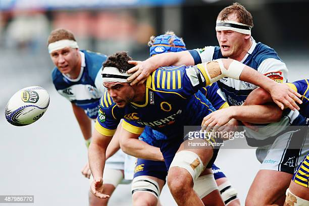 Tom Franklin of Otago passes the ball out during the round five ITM Cup match between Auckland and Otago at Eden Park on September 13 2015 in...