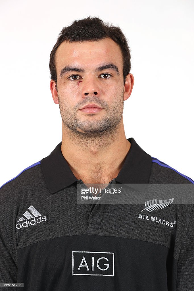 Tom Franklin of the All Blacks poses for a portrait during a New Zealand All Black portrait session on May 29, 2016 in Auckland, New Zealand.