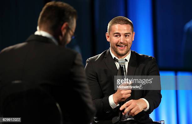 Tom French Memorial Maori Player of the Year Dane Coles speaks at the ASB New Zealand Rugby Awards at SkyCity Convention Centre on December 15 2016...