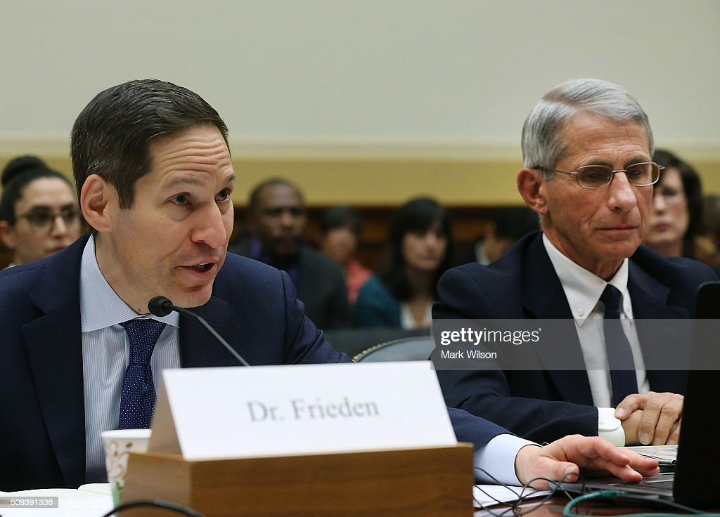 <a gi-track='captionPersonalityLinkClicked' href=/galleries/search?phrase=Tom+Frieden&family=editorial&specificpeople=11365236 ng-click='$event.stopPropagation()'>Tom Frieden</a> (L), director of the Centers for Disease Control and Prevention testifies while flanked by <a gi-track='captionPersonalityLinkClicked' href=/galleries/search?phrase=Anthony+Fauci&family=editorial&specificpeople=964622 ng-click='$event.stopPropagation()'>Anthony Fauci</a>, director of the National Institute of Allergy and Infectious Diseases, during a House Foreign Affairs Committee hearing on Capitol Hill, February 10, 2016 in Washington, DC. The committee heard testimony from health officials on the Zika virus epidemic, and its threat to the Americas.